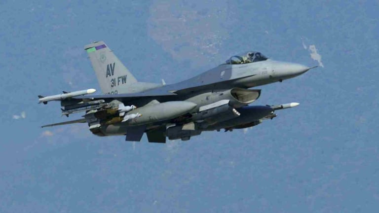 A US Air Force F-16 fighter jet.