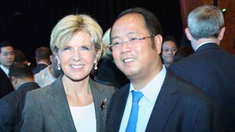 Foreign Affairs Minister Julie Bishop and Huang Xiangmo at the Australia-China Relations Institute in 2014.