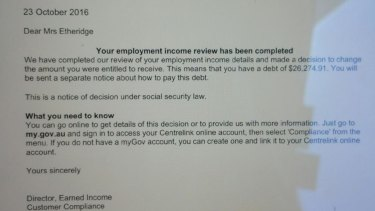 A Perth woman claims Centrelink said she owed $26,000.