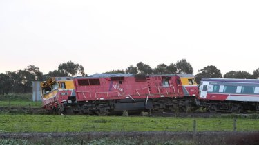 The damaged train off its tracks at Pirron Yallock.