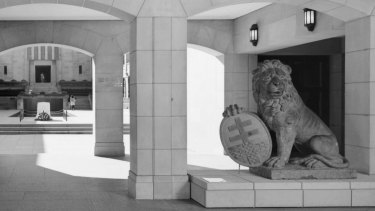 One of the two Menin Gate lions at the War Memorial in Canberra.