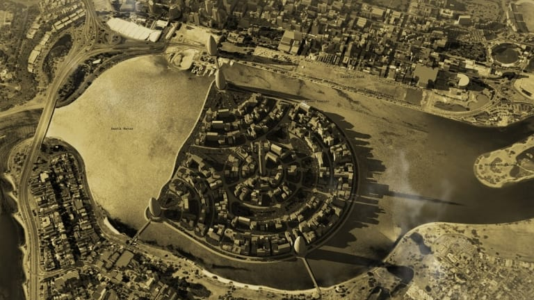 In 1931, an architect proposed a floating island in the middle of the Swan River.