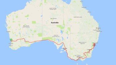 Epic: the course of the first Indian Pacific Wheel Race from Fremantle to Sydney last year.