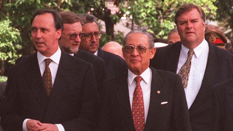Prime Minister Paul Keating with Indonesia's Ali Alatas, Kim Beazley, senators Gareth Evans and Robert Ray in Jakarta.