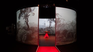 An immersive installation in the 10 Minutes to Midnight exhibition exploring Australia's atomic testing stories.