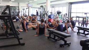The new Fremantle Docker gym is four times bigger so the entire squad can train together.