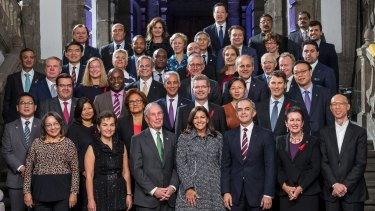 Sydney lord mayor Clover Moore (front row, second from right) with other mayors at the C40 Mayoral Summit in Mexico.