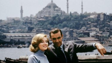 Sean Connery stars as James Bond and Daniela Bianchi as Tatiana Romanova in <i>From Russia with Love</i>.