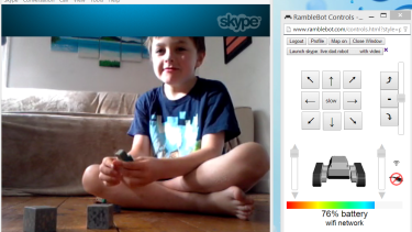 Matt Walker Skyping his son Jarvis as the RambleBot.