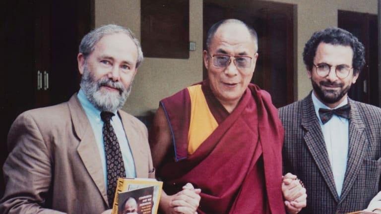 Garth Nettheim with the Dalai Lama and Jose Ramos Horta. He worked with Horta to establish the Diplomacy Training Program.