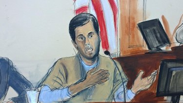 In this courtroom sketch, Turkish-Iranian gold trader Reza Zarrab testifies.