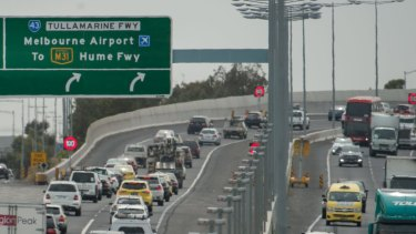 Outbound traffic on the Tullamarine Freeway.