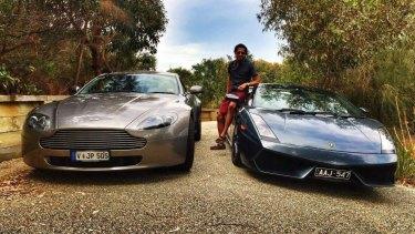 Alex Mendieta posing with luxury vehicles.