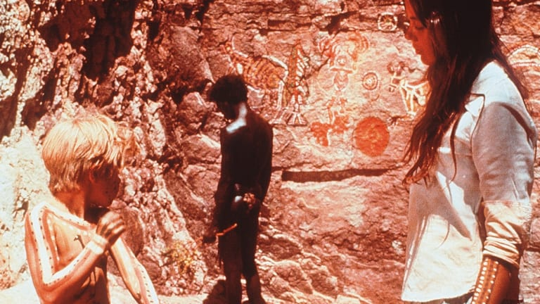 Lucien John, David Gulpilil and Jenny Agutter in the film Walkabout.