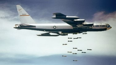 US Air Force B-52 dropping bombs over Southeast Asia in the 1960s.