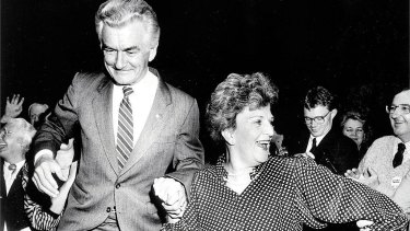 Prime Minister Bob Hawke celebrates his election win with wife Hazel in 1987.
