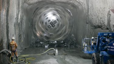 A tunnel boring machine at work.