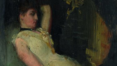 Detail of Cream and Black, Tom Roberts, oil on cigar box lid, 1889.