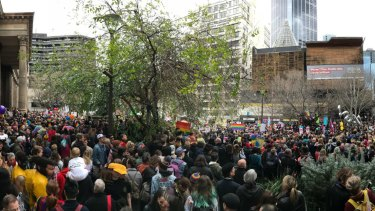 Marriage equality supporters gathered outside the State Library of Victoria.