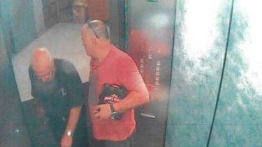 CCTV showing Roger Rogerson and Glen McNamara in the lifts of McNamara's Cronulla apartment.