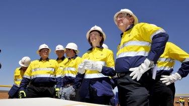 Then prime minister Julia Gillard and resource minister Martin Ferguson visit Barrow Island to see the Chevron-run Gorgan Gas Project.