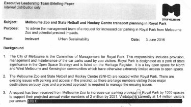An internal Melbourne City Council memo, released under FOI, shows Melbourne Zoo's request for 1000 more car parking spots in Royal Park.
