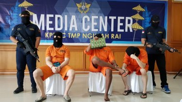Three men arrested on unrelated drug charges in Bali were paraded for the media on Tuesday. From left: an Australian, an American and a Malaysian.