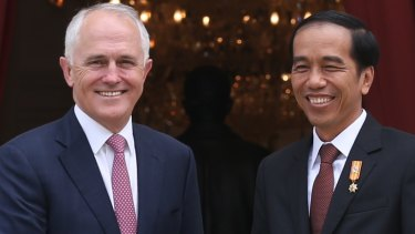 Prime Minister Malcolm Turnbull with Indonesian President Joko Widodo, who is driving a massive five-year infrastructure plan.