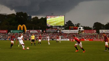 Redevelopment on track: Action from a Western Sydney Wanderers v Perth Glory match at Pirtek Stadium last season.