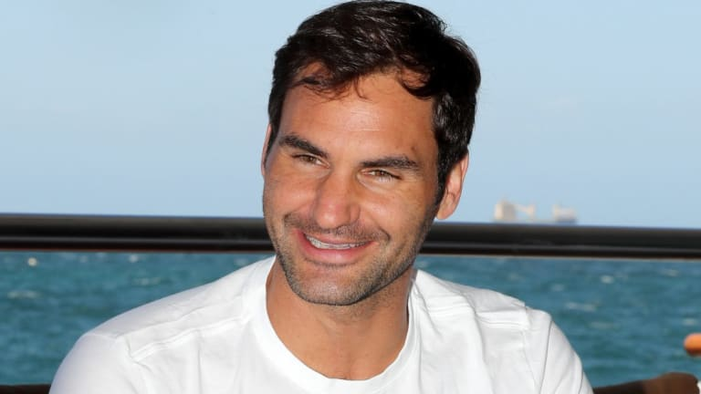 Swiss tennis player Roger Federer enjoyed time on a luxury boat off the West Australian coast.