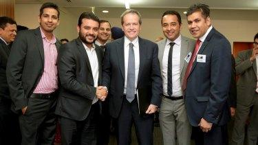 Cr Intaj Khan, far right, with Labor Opposition leader Bill Shorten.
