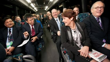 """Former state education minister Bronwyn Pike on the """"Ultranet bus""""."""