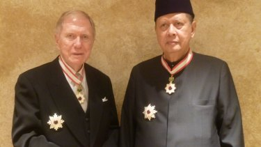 Michael Kirby, left, with fellow North Korea inquiry member Marzuki Darusman after they were honoured with the Order of the Rising Sun, Gold and Silver Star, by the Japanese emperor.
