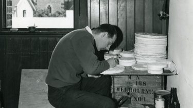 Stuart Devlin carving plasters for Australian coins in 1963.