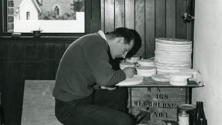 Stuart Devlin carving plasters for Australian coins in 1963.