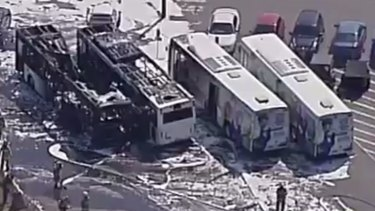 Two buses have been destroyed by fire on the perimeter of Sydney Airport.