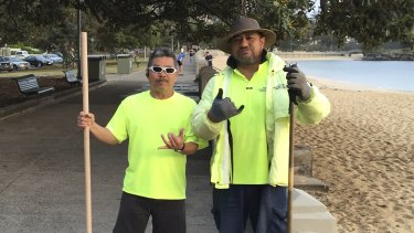 Popular figures: Balmoral beach cleaners.