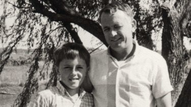 Malcolm Turnbull aged 9 with his father Bruce.