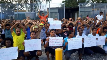 Asylum-seekers protesting against their forcible removal from the Manus Island detention centre.