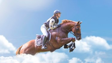 The composite image of Olivia Inglis riding among the clouds has been shared by those who are mourning the death of the young rider.