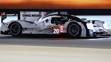 Mark Webber driving a Porsche during the Bahrain leg of the World Endurance Championship last month.
