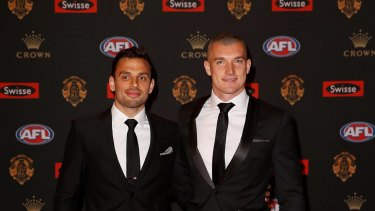 Dustin Martin and Sam Lloyd arrive at the Brownlows.