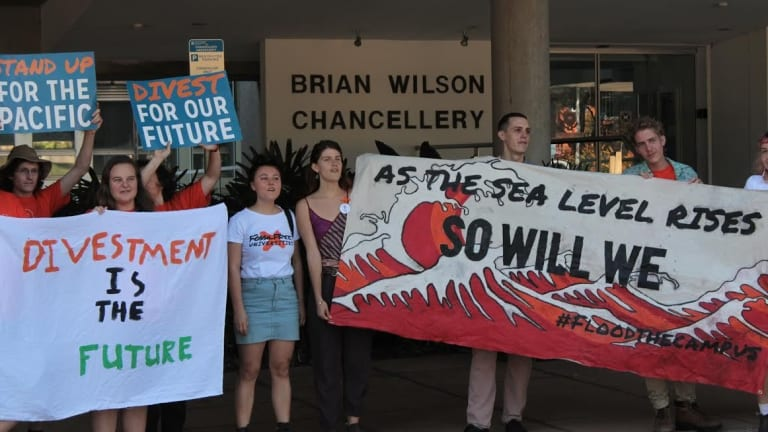 Fossil Free UQ representative Amy MacMahon said Monday's action was a protest of the university's alleged investment in fossil fuels.
