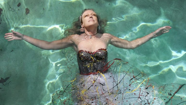 Fashion designer Jenny Bannister in a reproduction of her 1977 Splash Plastic Ballerina Dress in 2005.