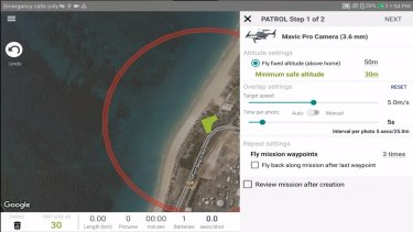 Surf Ranger allows drone pilots to set patrol paths over beaches, and use on board cameras to detect hazards.