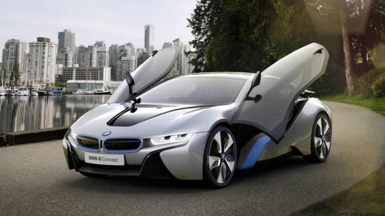 BMW's i8, pictured in concept form, is expected to eke supercar performance from a super-frugal drivetrain.