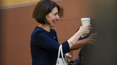 Gladys Berejiklian arrives at NSW Parliament House on the morning she is set to be elected as Premier.