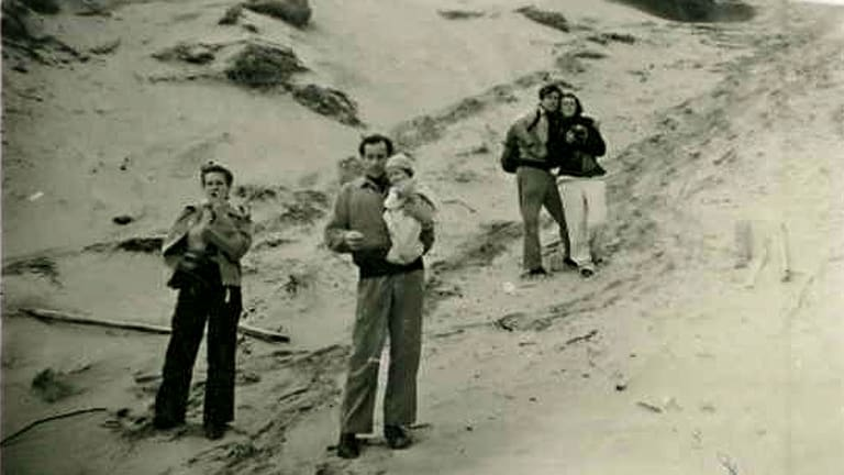 A day at Point Lonsdale in the 1940s: (from left) Joy Hester, Sidney Nolan holding Sweeney Reed, John Reed and Sunday Reed.