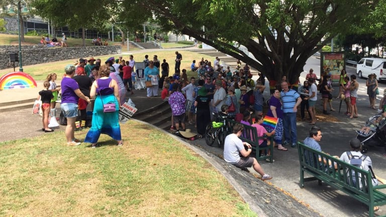 A rally for Tyrone Unsworth in Brisbane on Sunday.