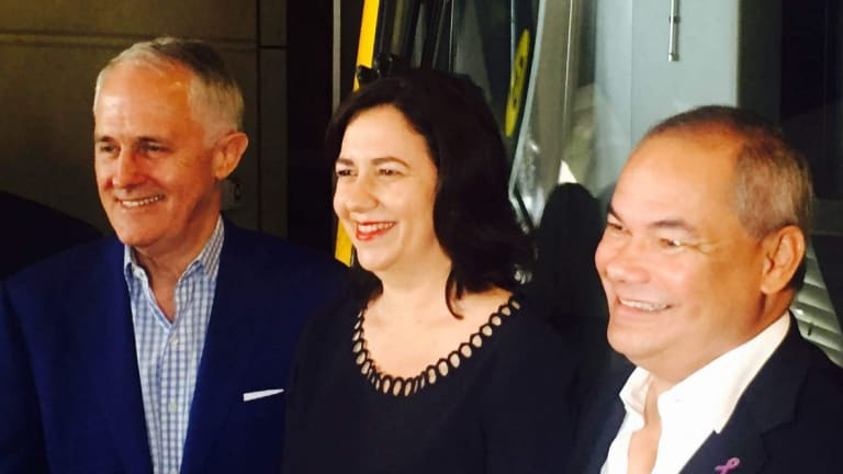 Prime Minister Malcolm Turnbull, Queensland Premier Annastacia Palaszczuk and Gold Coast mayor Tom Tate were all smiles at a recent light rail funding announcement.